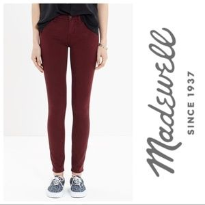 Madewell Burgundy Skinny Skinny Jeans Size 28